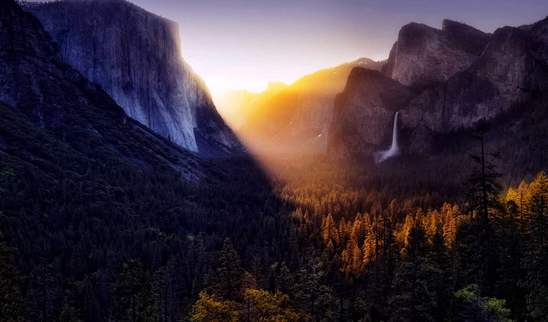 sun, yosemite, горы, свет, national, park, долина, лучи, водопад,