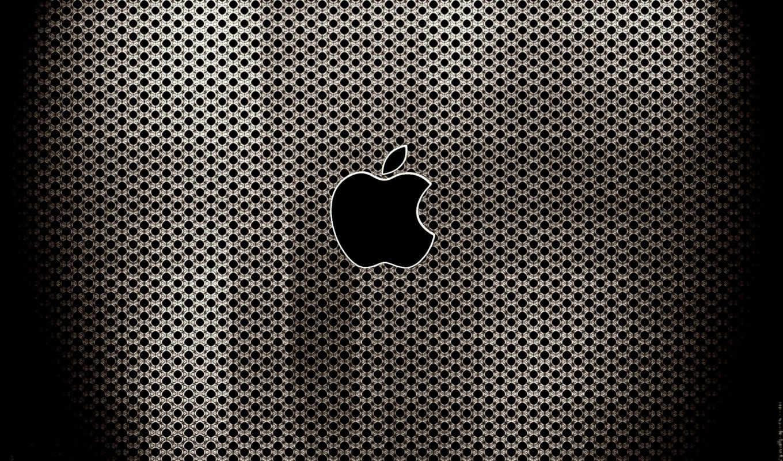apple, logo, чёрный, перфорация