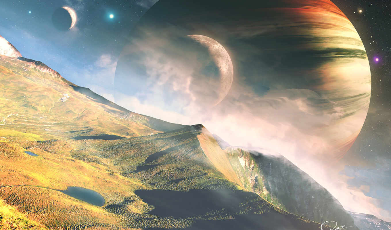 cosmos, планеты, landscape, звезды, горы, qauz, картинка,