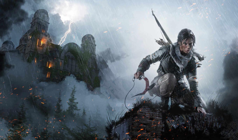 замки, fantasy, игры, tomb, взлёт, raider, лара, lightning, крофт, дождь,