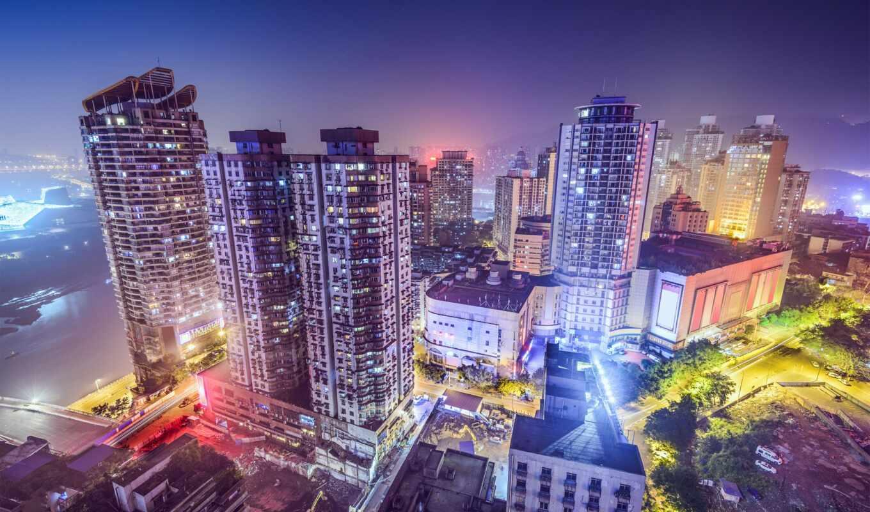 город, ночь, chongqing, китаянка, небоскрёба, china, house