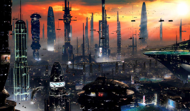 обои, город, закат, будущее, небоскребы, фантастик
