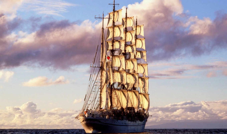 ship, sailing, море, паруса, ocean, смотрите,