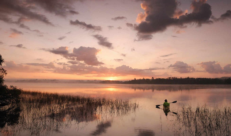 природа, небо, закат, лодка, гладь, пейзаж, река, одноместная, max, качества, озере, высокого,