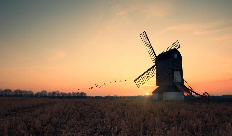 мельница, солнце, закат, поле, вечер, журавли, природы, уголками, прекрасными, картинка,