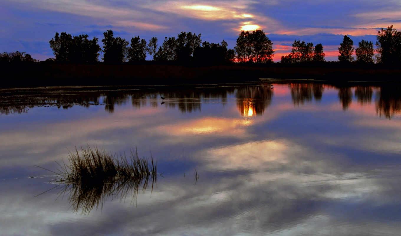 сумерки, тучи, яркий, небо, закат, вечер, красный, синева, река, деревья, отражение, гладь, природа,