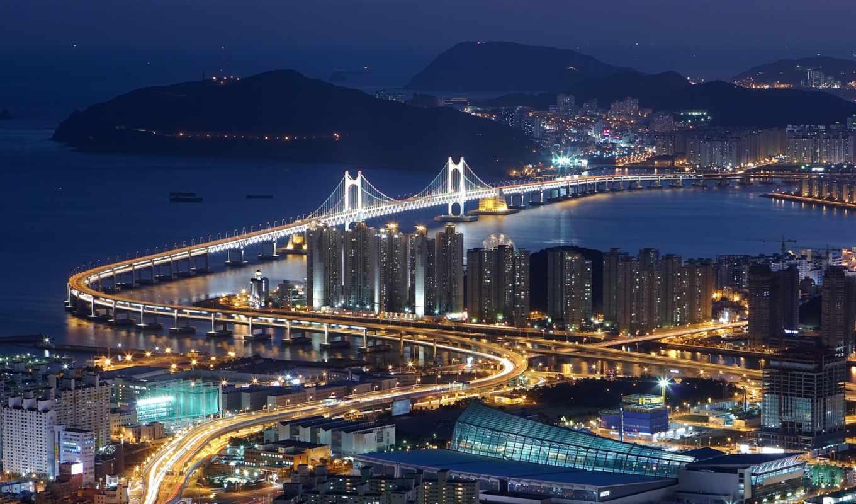korea, южная, пусан, первую, вид, hdr, мост, южной, ночь,