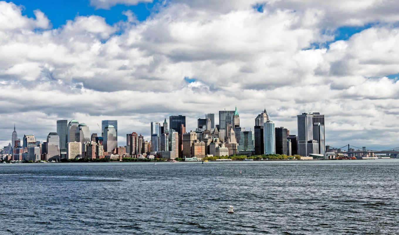 нью, new, york, небоскребы,