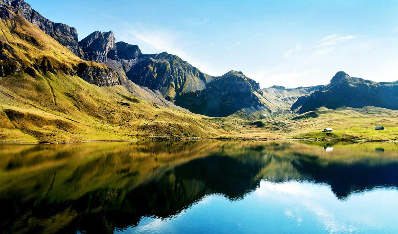 full, озеро, горы, size, отражение, холмы, природа, зелёный, дома,