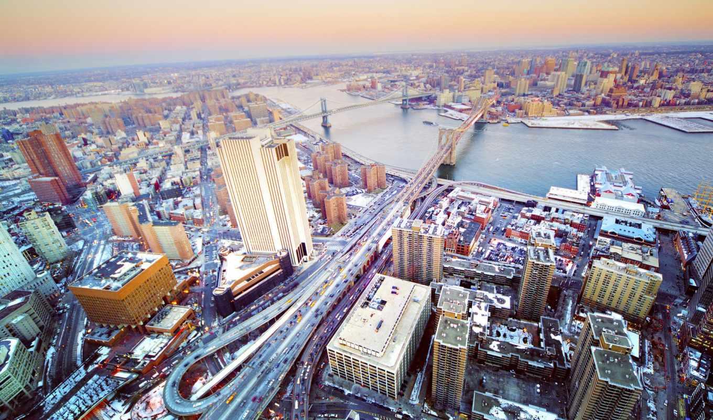 нью, york, new, сша, взгляд, высоты, usa, город, зимой,