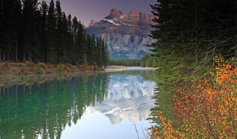 лес, река, гора, осень, природа, high,