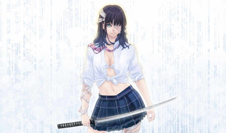 девушка, anime, бинты, art, кровь, форма, devushki, мужчины, нравится, макро,