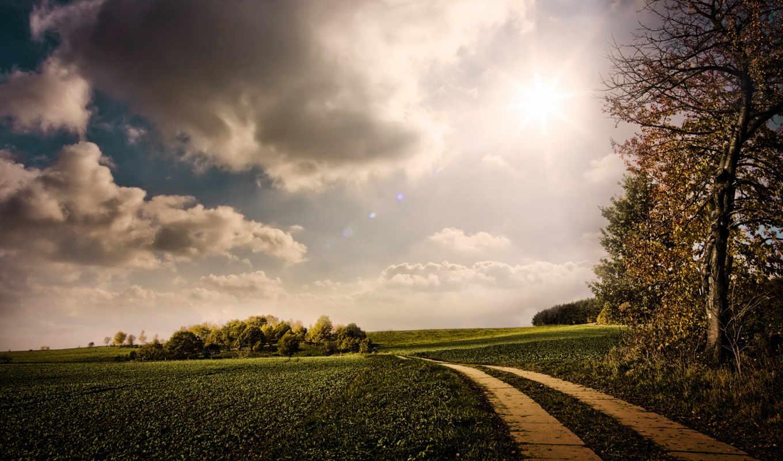 nature, autumn, landscape, sunny, charming, дорога, облака, деревья,