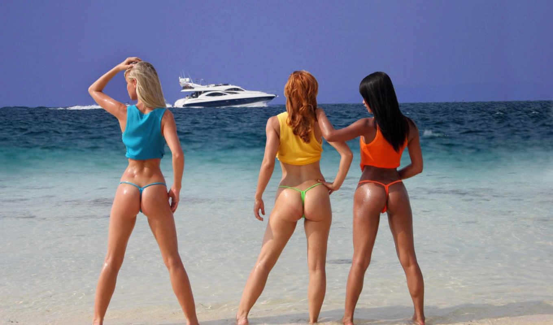 девушки, море, катер, thong, бикини,