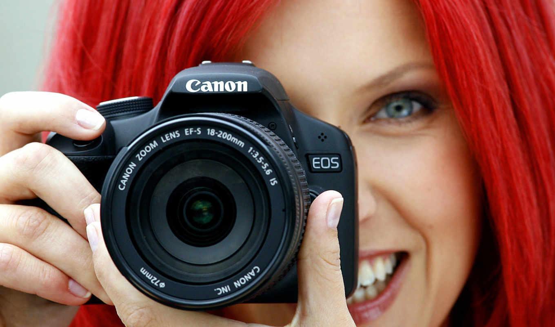 фотоаппарат, canon, девушка, объектив,