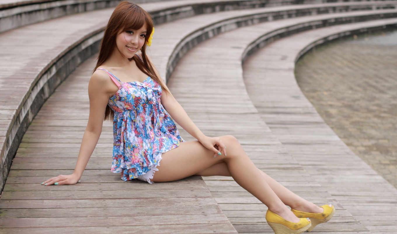 girls, asian, туфли, стремянка, платье, women,