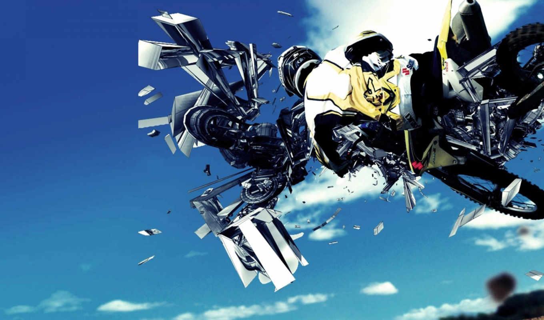 мотоцикл, мотоциклы, машины, прыжок,