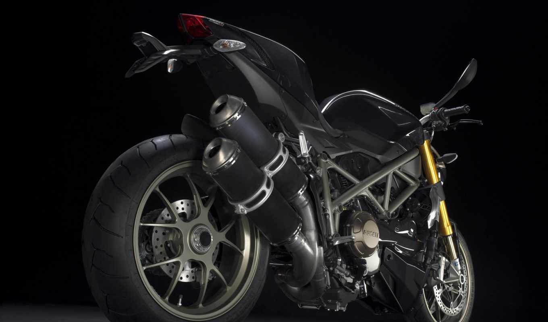 ducati, streetfighter, мотоцикл, black,