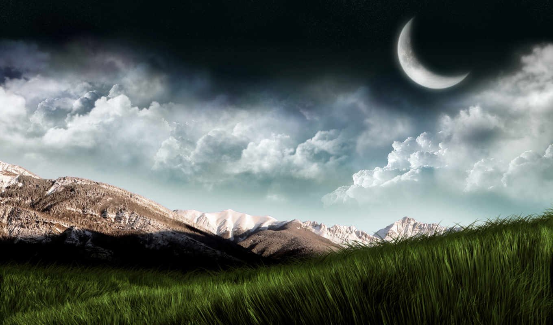 landscape, fantasy, горы, planet, небо, трава, пейзажи -, природа,