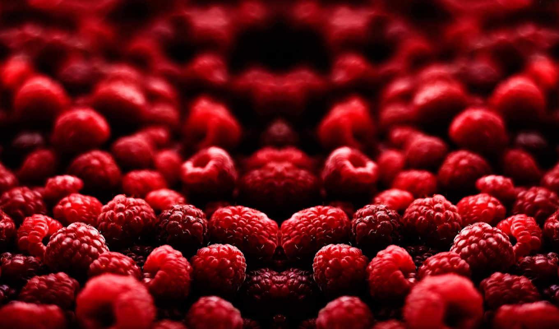 малина, макро, ягоды,