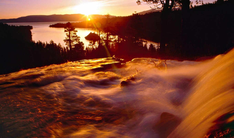 природа, со, красивые, рассвет, природы, водопад, водопады, водопадом,