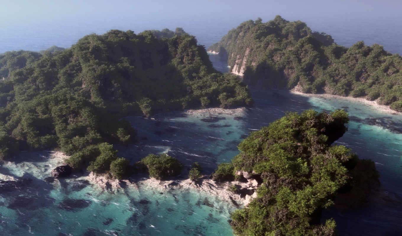 море, острова,арт, обои, высота, дымка, острова, природа,
