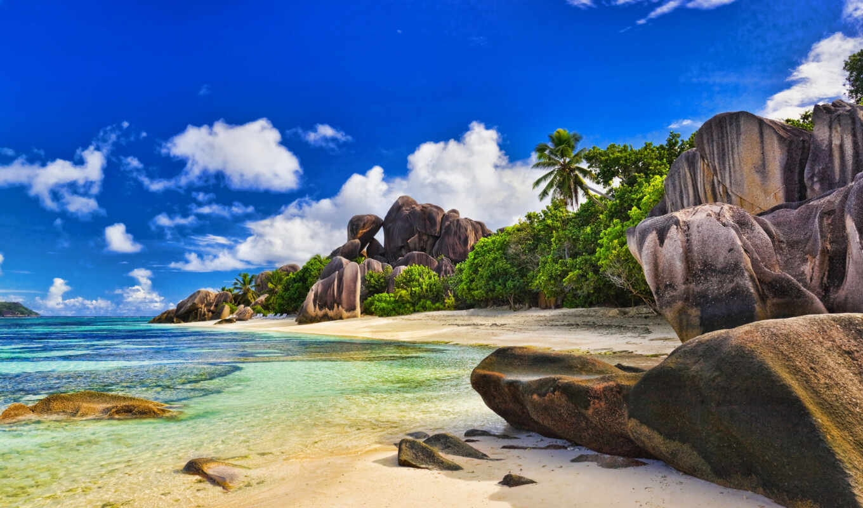 небо, природа, лето, облака, тропики, пляж, пальмы, океан, сейшелы, красиво, разделе,