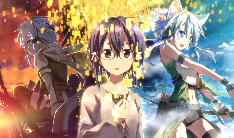 online, меч, art, onlain, anime, меча, sinon, мастера, Мастера меча