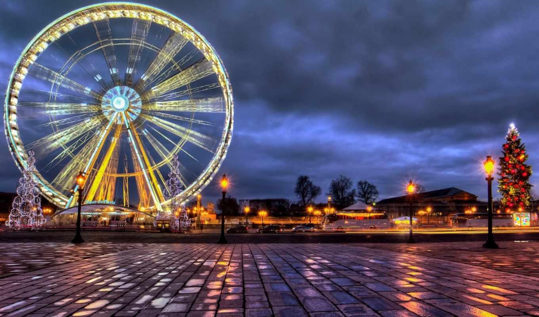 париж, город, франция, города, свет, колесо, место, огни,