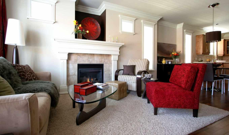 design, интерьер, комната, стиль, диван, red, кресло, мебель, ковёр, камин,