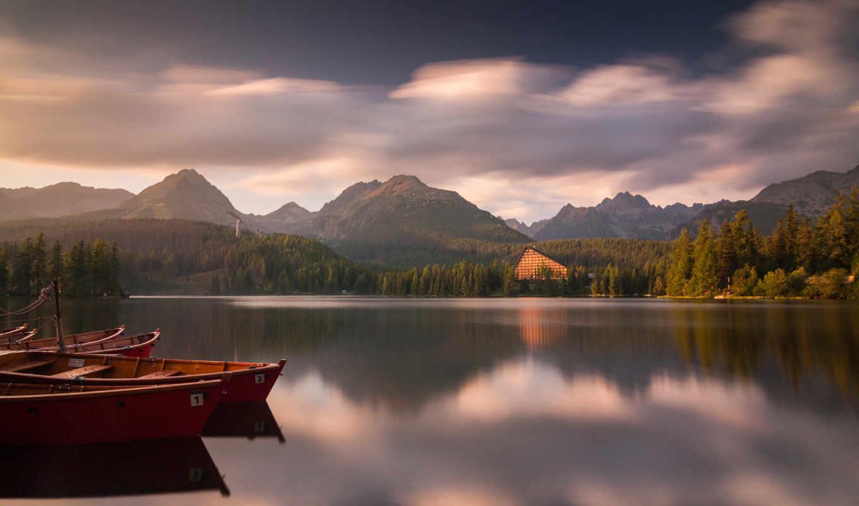 pleso, strbske, slovakia, tatra, озеро, national, горы, park, лодки,