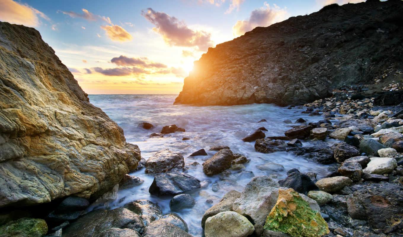 скалы, море, волны, небо, камни, природа, ocean, sun,