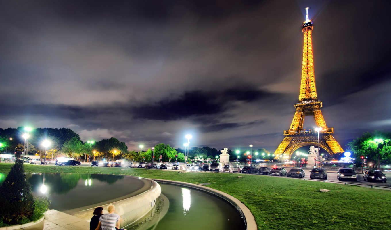 париж, ночь, ночного, мегаполиса,