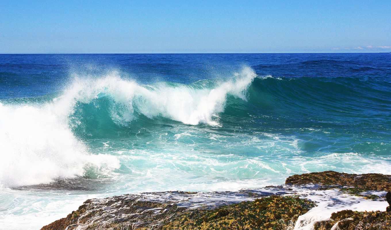 море, волна, waves, морская, неба, брызги, волной, fone,
