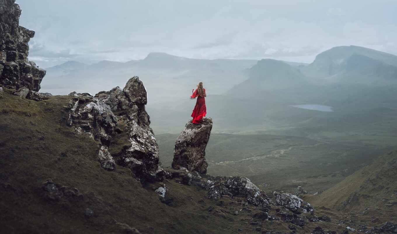 rock, платье, девушка, landscape, гора, red