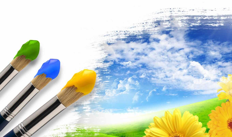 кисточка, краска, decoration, яркость, manor, окно, лет, summer, креатив, цветы