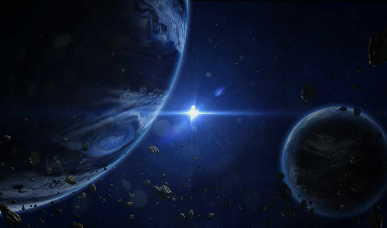 астероиды, звезда, планеты, пространство,
