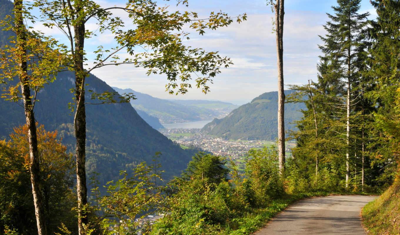 kartinka, priroda, пейзаж, швейцария, дороги, трава,