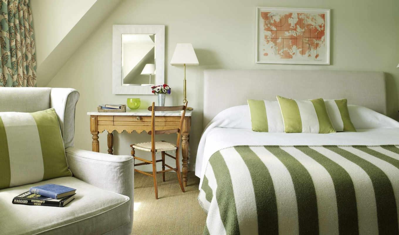 зелёный, спальня, занавески, тонов, стены, спальни,