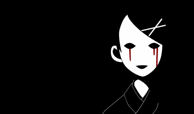 кровавые, девочка, белый, слезы, черный, кимоно, японка,