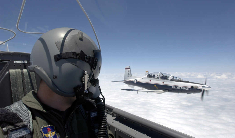 пилот, авиация, кабина, шлем, небо, самолёт, облака, военный,