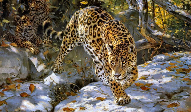 осень, zhivotnye, grant, donald, art, jaguar,