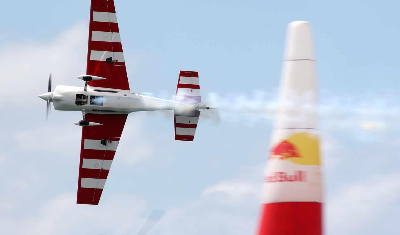 bull, red, race, air, racing, plane, airplane, flugzeug, самолёт,
