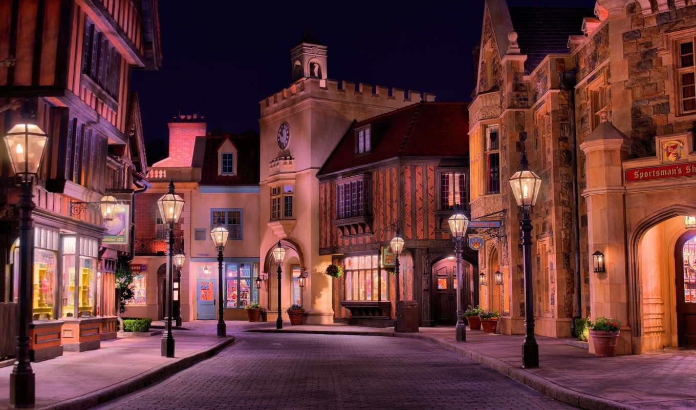 улица, улицы, вечер, город, фонари, дома, свет, городов, дизлайков,