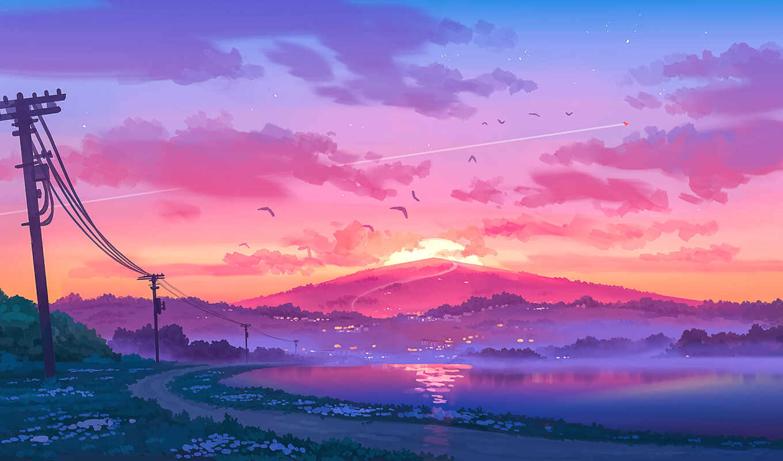 птица, закат, пост, провод, облако, art, арта, дорогой, sun, девушка