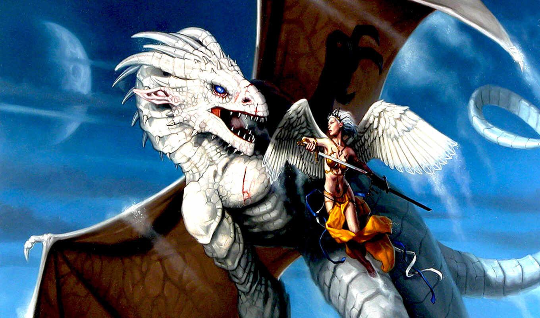 дракон, битва, воительница, santos, dos, картинка, вертикали, горизонтали, имеет, dan, фэнтези, очень, page,