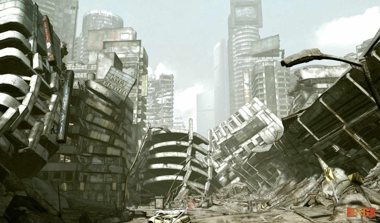 rage, город, игры, разрушенный, постапокалипсис, развалины,