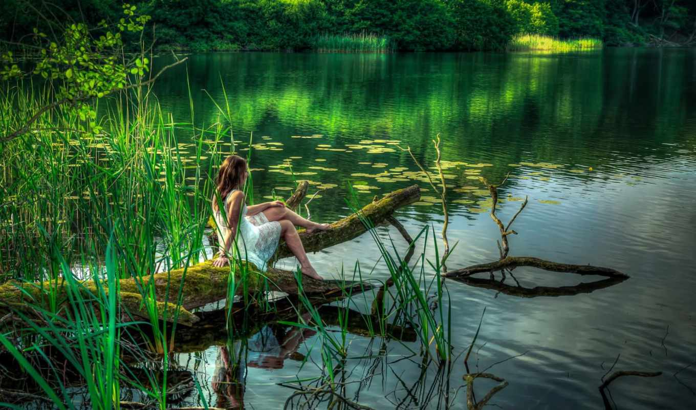 девушка, лето, озеро, камыш, лес