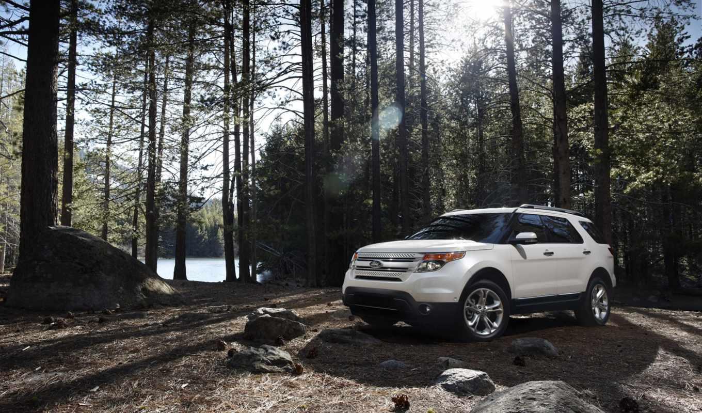 ford, explorer, белый, кроссовер, природа, река