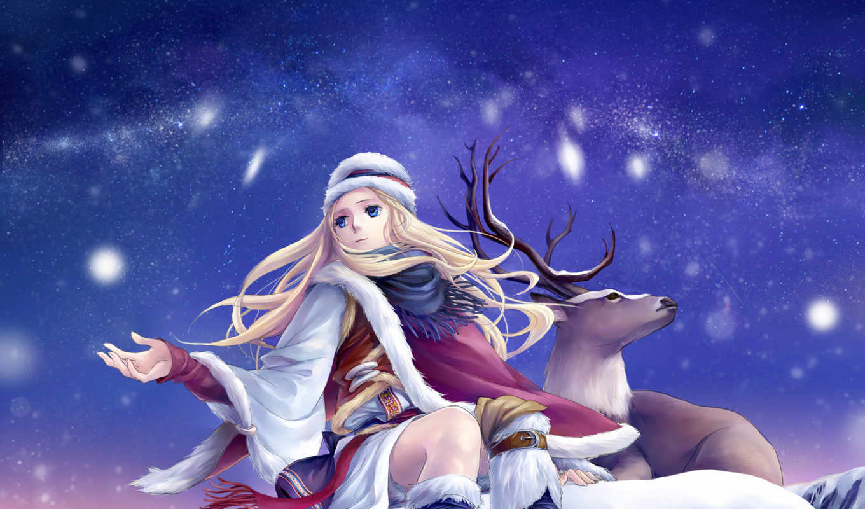 снег, олень, зима, сказка олень, девочка, ann, небо, снег, арт, зима, звезды олень, лес, финляндия, снег, зима, парень, сани, снегопад